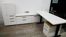 Used Haworth Beside Benching  L Desk Sets with Personal Storage Tower