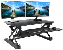 Sit Stand Height Desk Top Riser with Keyboard Tray for Dual Monitors from Easy Office Furniture in Atlanta and Marietta GA