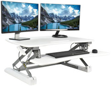 Sit Stand Height Desk Top Riser with Keyboard Tray for Dual Monitors in White from Easy Office Furniture in Atlanta and Marietta GA