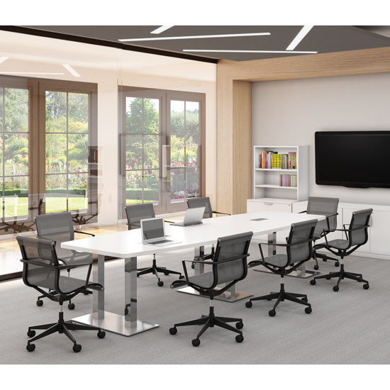 Laminate Conference Table With Polished Steel Base 6ft To 20ft In Racetrack OR Boat Shape
