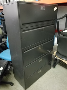 Used Haworth 36W 5 Drawer Lateral Files in Black from Easy Office Furniture in Marietta GA and Atlanta GA