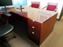 Used L and U Desks in Cherry Veneer from Easy Office Furniture in Atlanta GA and Marietta GA