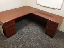 Used 17 Steelcase Veneer L-Desk Sets in Cherry Veneer including Tall Bookcase from Easy Office Furniture in Atlanta GA and Marietta GA