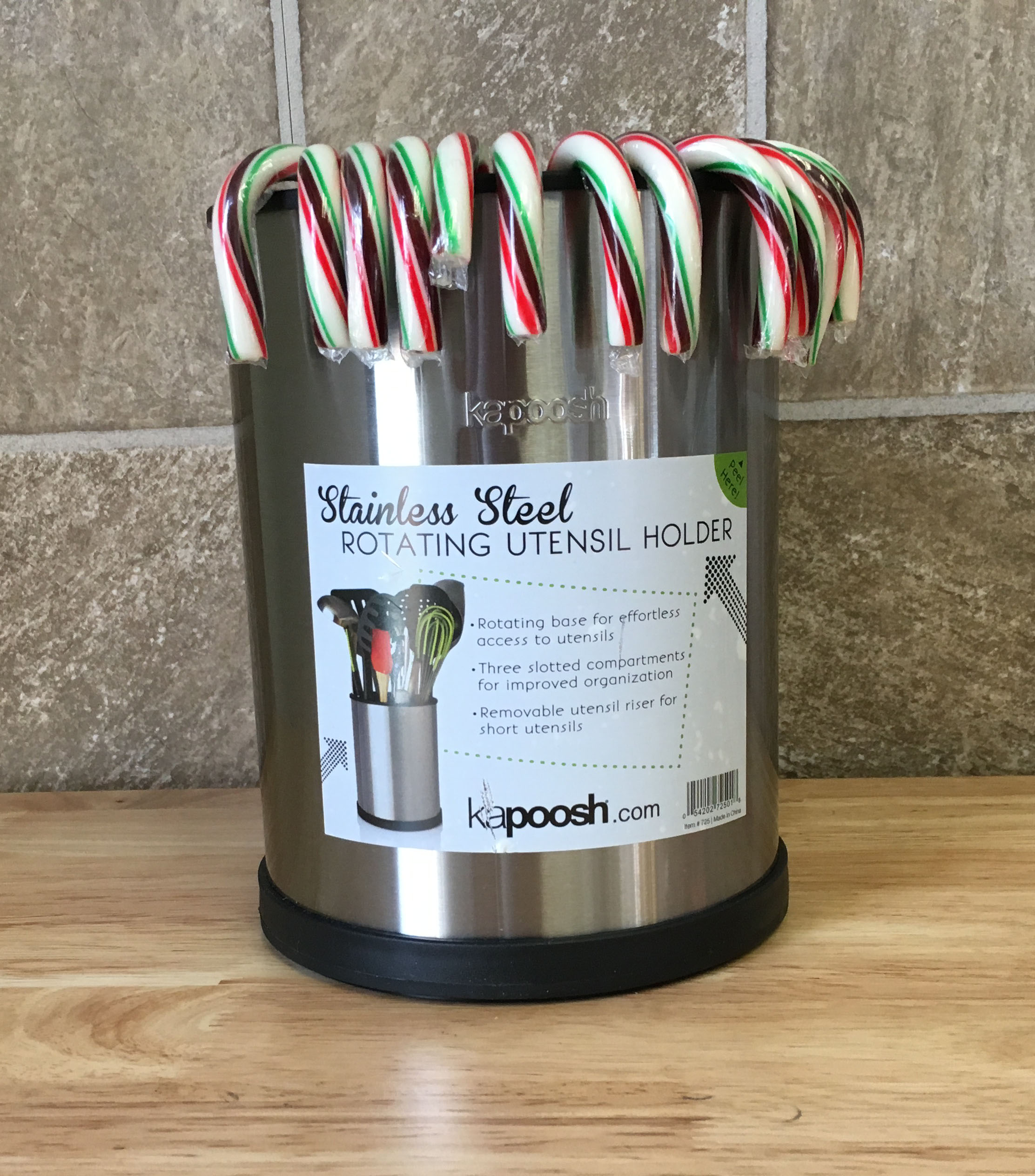 Candy Canes in Kapoosh Rotating Utensil Holder