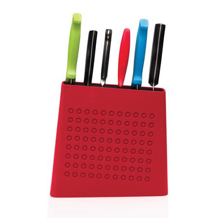 Knife Storage Block in Cherry Red