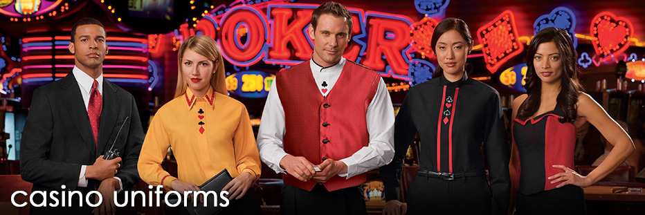 Casino uniforms, casino dealers uniforms, and casino cocktail uniforms for every position. Casino aprons, casino pants, casino vests and more. Discounts as low as 7 pieces.