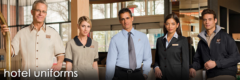 Hotel uniforms and hospitality uniforms with a coordinated and smart design. Complete uniform programs for your entire resort from the front desk and housekeeping to the maintenance department and dining rooms. Quantity discounts starting at 7 pieces.