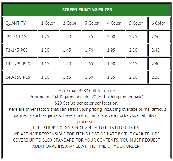 Quantity discounts on screen printed tee shirts.