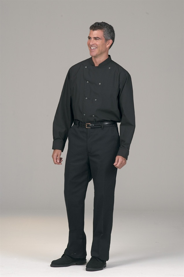 6b257909a0797 This double breasted uniform shirt features a standing collar for your  servers