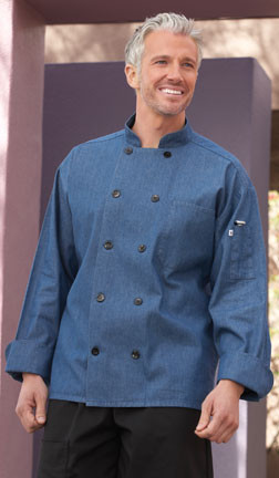 Denim chef coat with black buttons