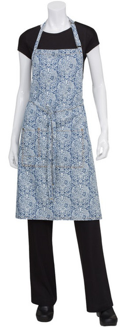 Flower printed full bib apron