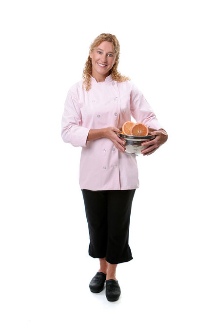This chef coat is perfectly fitted for a woman