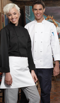 Classic chef coat style with knot bottons