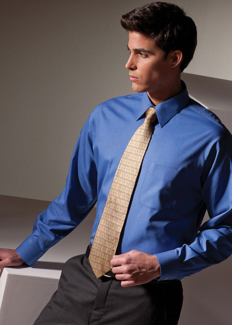 French Blue oxford uniform shirt with long sleeves