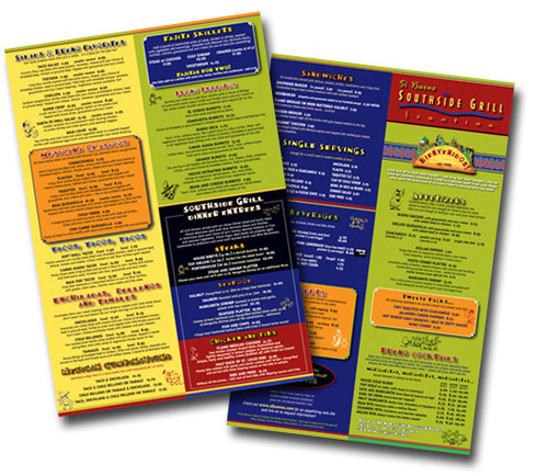 Colorful restaurant menus