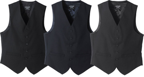 Black, navy, and charcoal vests
