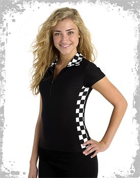 Zippered racing uniform shirt with checkerboard on the side
