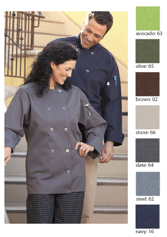 Comfy chef coat in many earthy tones