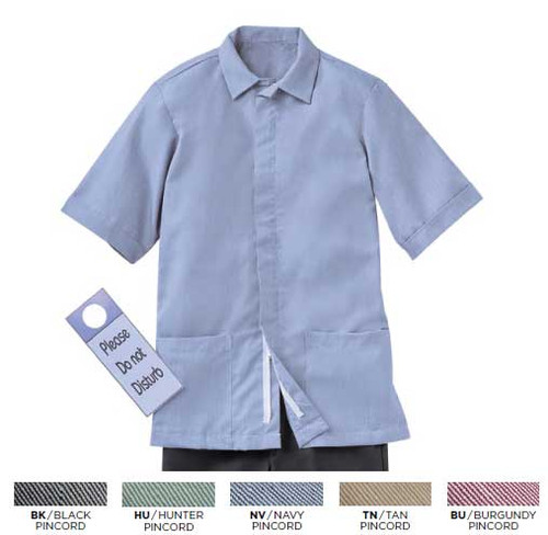 Men's pincord housekeeping shirt matches the women's pincord collection
