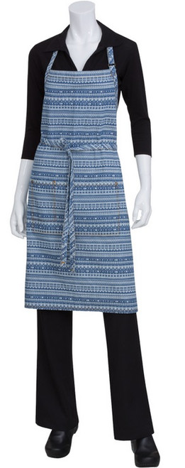 Blue patterned apron