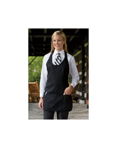 Scoop neck apron with pockets