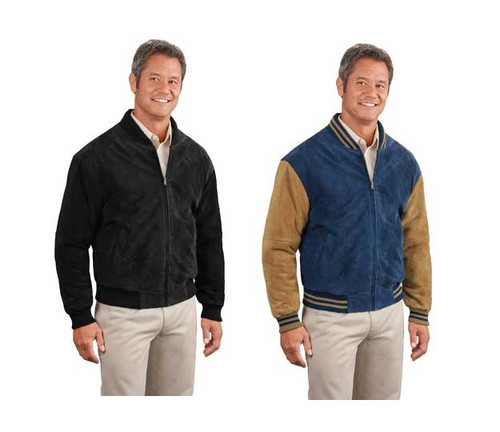 Letterman style jacket with striping on collar and cuffs
