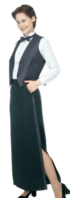 Floor length uniform skirt with a side slit at the knee