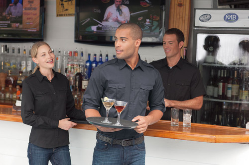 Staff looks sleek in this roll-up sleeve shirt