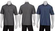 Denim uniform button-up shirt