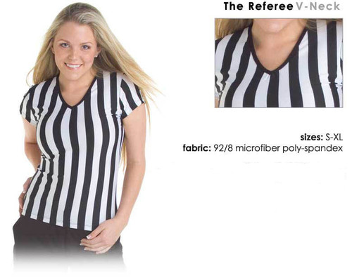 Referee uniform shit for women with a v-neck