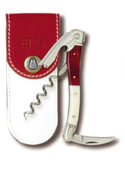 Red and White corkscrew with pouch