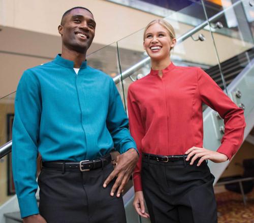 Easy wear and easy care casino uniform shirt.