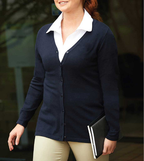 Ladies V-Neck Cardigan in Navy