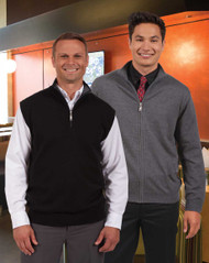 Quarter Zip Cotton Blend Vest