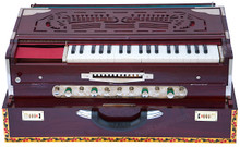 MONOJ K SARDAR Harmonium A440 Tuned, 4 Reeds, Teak Wood Folding