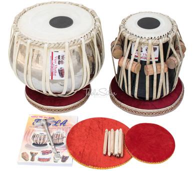 VHATKAR Chromed Tabla Drum Set, 2½KG Brass Bayan