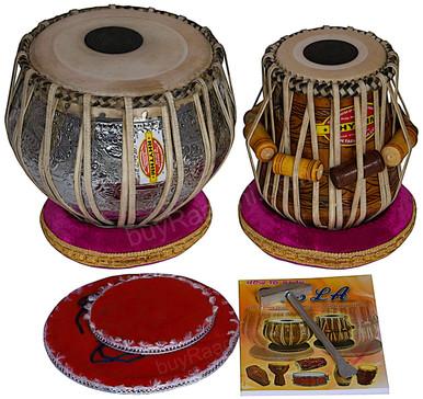MUKTA DAS Ganesha Chrome Tabla Drum Set, 4KG Copper Bayan