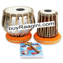 MUKTA DAS Floral Tabla, 4KG Copper Bayan Finest Dayan, Hammer, Bag ADH