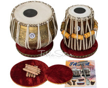 MAHARAJA MUSICALS 3.5kg Ganesha Kalash Brass Tabla, With Lacquer Finish BHE