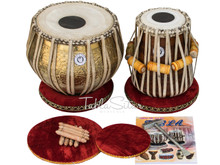 MAHARAJA MUSICALS 3.5 Kg Ganesha Gulab Brass Tabla Set, Lacquer Finish BHD