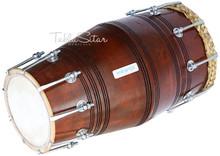 MAHARAJA Special Gajra Dholak (Dholki), Mango Wood, Spanner, Bag BGA