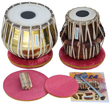 MAHARAJA Golden Tabla Set, 3 Kg Brass Bayan, Finest Dayan, Hammer - CH