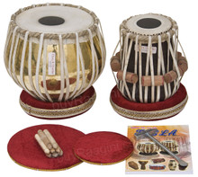 VHATKAR Chromed Tabla Drum Set, 4KG Brass Bayan, Shisham Dayan
