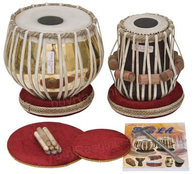 VHATKAR Chromed Tabla Drum Set, 4KG Brass Bayan, Shisham Dayan