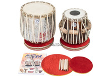 MAHARAJA MUSICALS Khanda Design Dhama Jori - Brass Dhama - Sheesham Wood Dayan - Tabla (BR-FDE)
