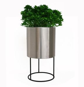 Cylinder Planter With Metal Base