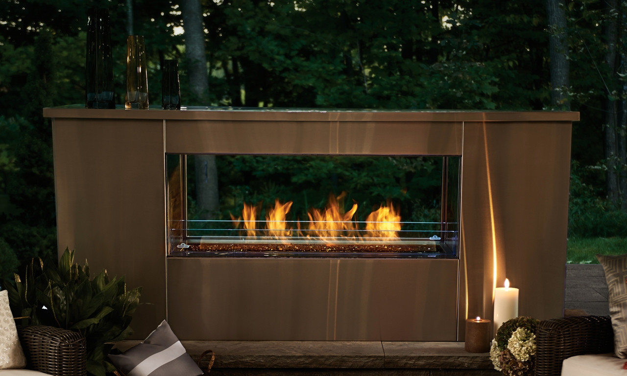 Marvelous 48 Inch Two Sided Linear Outdoor Gas Fireplace Beutiful Home Inspiration Truamahrainfo