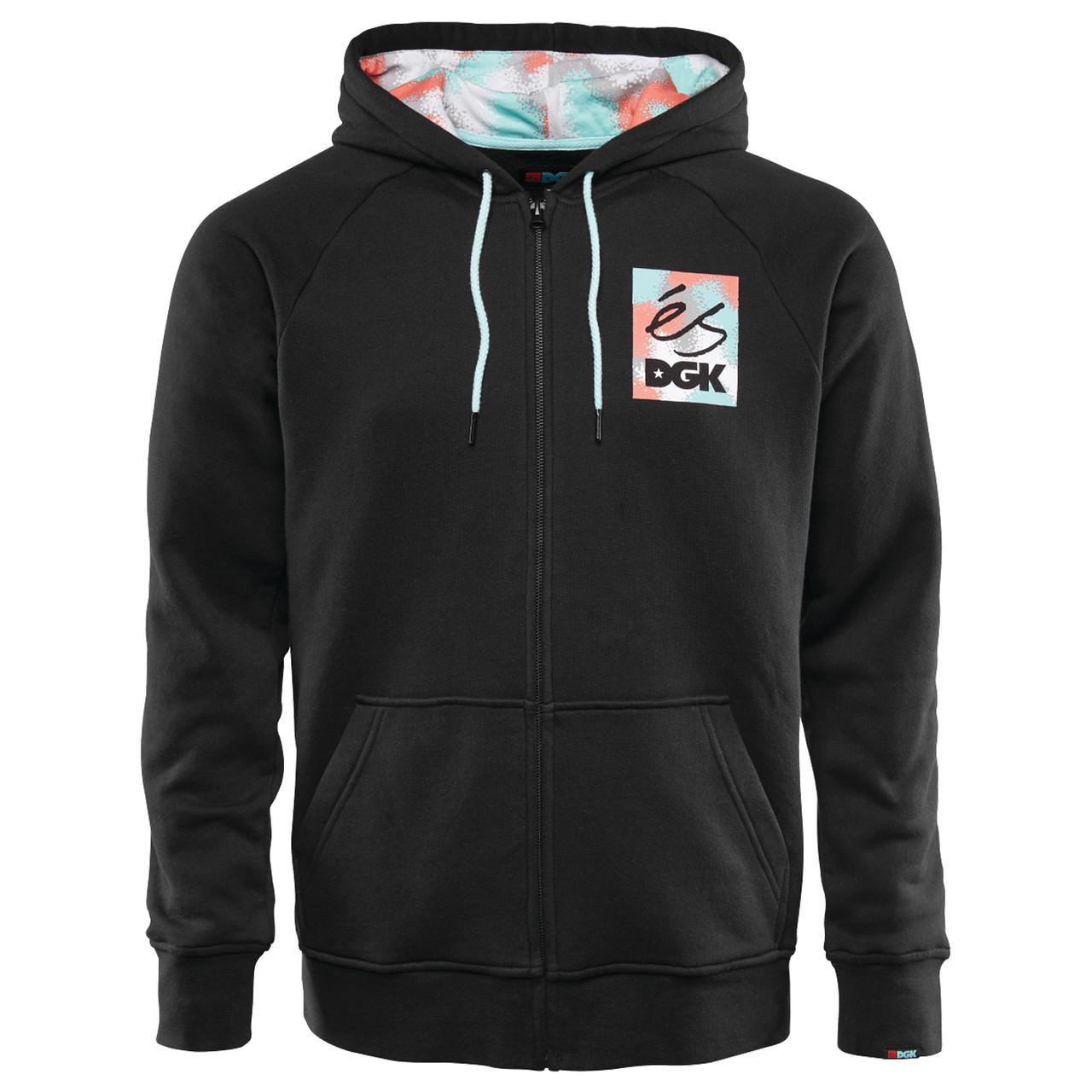ES Skateboard Shoes Sweatshirt Hoodie DGK Black Zip