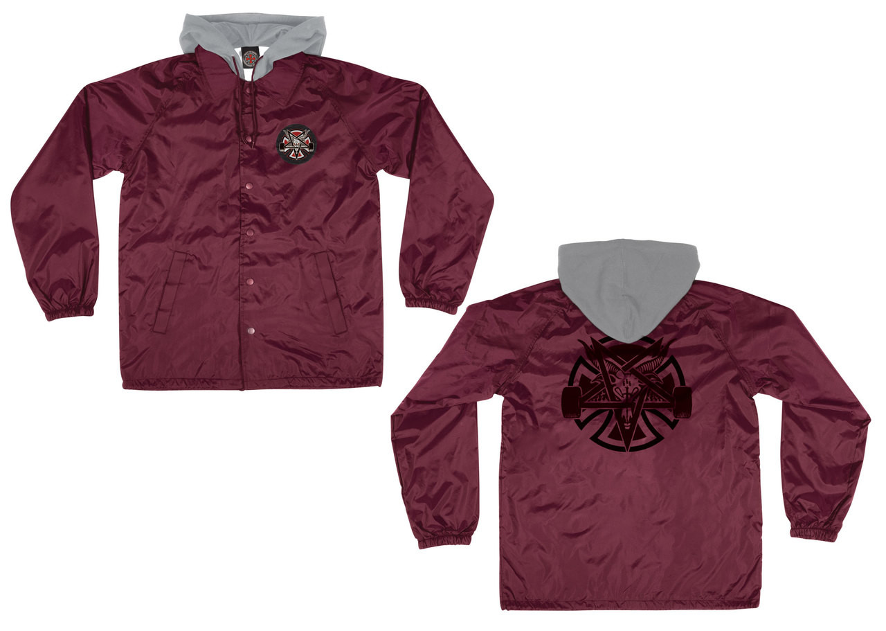 info for 1aa7a 3e29f Independent Thrasher Pentagram Cross Hooded Windbreaker Maroon
