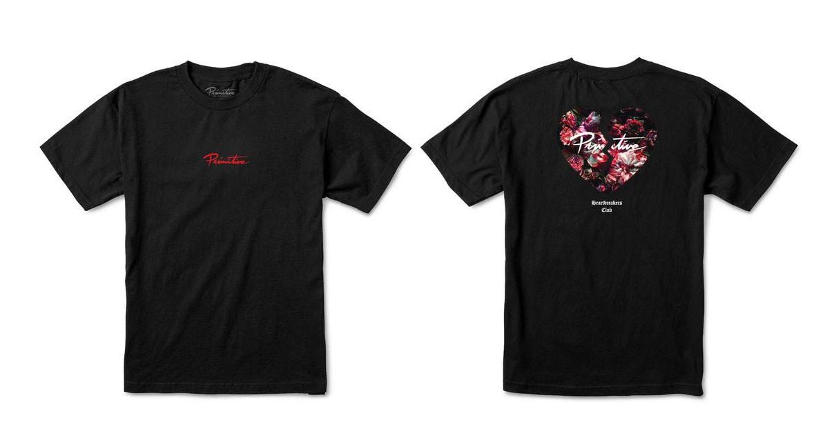 5ba3e08c7a82 Primitive Skateboard Shirt Heartbreakers Club Broken Black